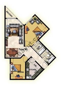 2 Bedroom Type B1 1st to 12th Floor