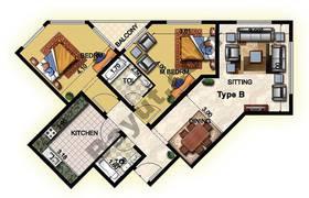 2 Bedroom Type B 14th to 18th Floor