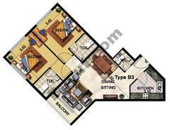2 Bedroom Type B3 20th to 25th Floor