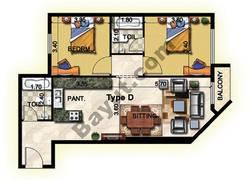 2 Bedroom Type D 20th to 25th Floor
