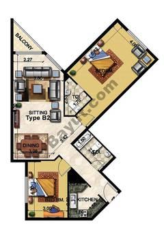 2 Bedroom Type B2 26th Floor