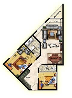 2 Bedroom Type B6 26th Floor