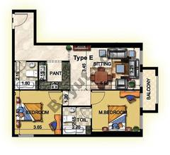 2 Bedroom Type E 33rd to 37th