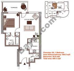 Floors (2-22) Lower Level Type 2A 1 Bedroom