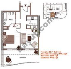 Floors (2-22) Lower Level Type 2B 1 Bedroom