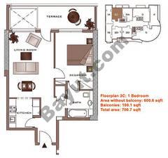 Floors (2-22) Lower Level Type 2C 1 Bedroom