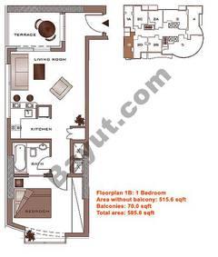 Floors (23-30) Upper Level Type 1B 1 Bedroom