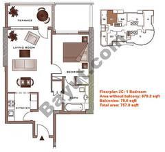 Floors (23-30) Upper Level Type 2C 1 Bedroom