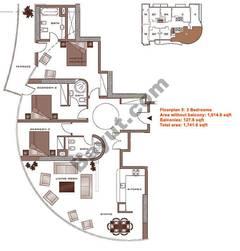Floors (2-22) 3 Bedroom Lower Level