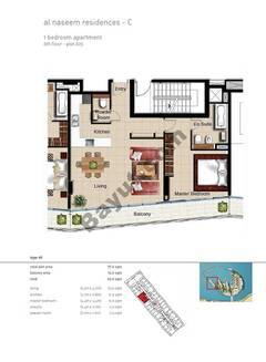 1 BR APT BLDG C,6th floor , Plot605, Type 1h