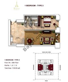 1 Bedroom- Type 2- 7th to 59th floor