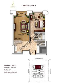 1 Bedroom- Type 4- 30th to 59th floor