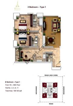 2 Bedroom- Type 1- 7th to 59th floor