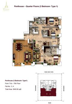 Penthouse-3 Bedroom-type 1-71st to75th