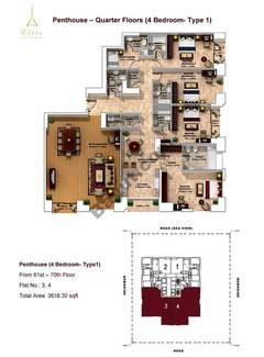 Penthouse-4 Bedroom-type 1-61st to 70th
