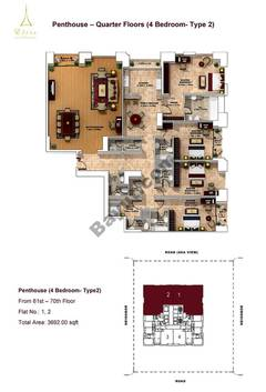 Penthouse-4 Bedroom-type 2-61st to 70th