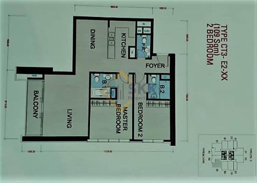 10 Vacant |2 Br Apt with Balcony|High floor