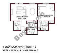 Typical Units, 1 BR, Type B