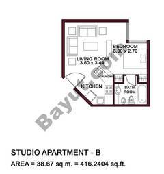 Typical Units, Studio Apartment, Type B