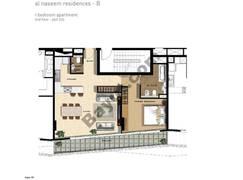 1 BR APT BLDG B, 2nd Floor, Plot 205, Type 1H