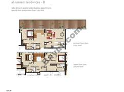 3 BR waterside duplex APT, BLDG B, Ground and pontoon - Floor, Plot 009,Type 3W