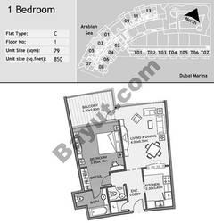 1st Floor 1 Bedroom Type C3