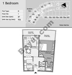 1st Floor 1 Bedroom Type D1