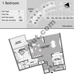 1st Floor 1 Bedroom Type K13