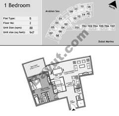 2nd Floor 1 Bedroom Type B13