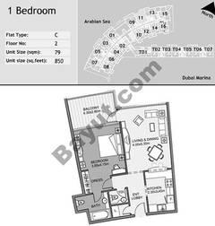 2nd Floor 1 Bedroom Type C11