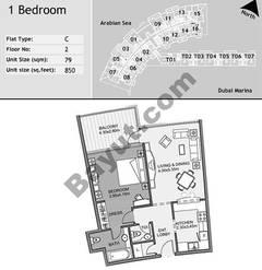 2nd Floor 1 Bedroom Type C3