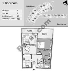 2nd Floor 1 Bedroom Type D1