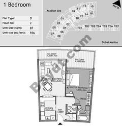 2nd Floor 1 Bedroom Type D9