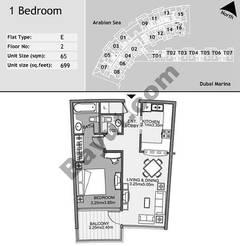2nd Floor 1 Bedroom Type E2