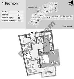 2nd Floor 1 Bedroom Type F8