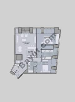Floors (7-42) Type 1 Unit-1 2 Bedroom