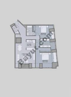 Floors (7-42) Type 1 Unit-3 2 Bedroom