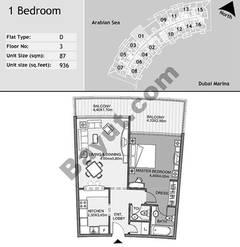 3rd Floor 1 Bedroom Type D1