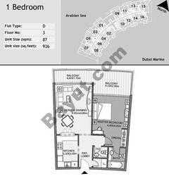 3rd Floor 1 Bedroom Type D9