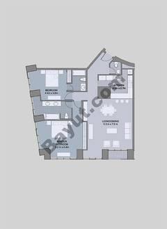 Floors (7-42) Type 1 Unit-5 2 Bedroom