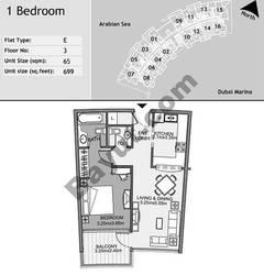 3rd Floor 1 Bedroom Type E14