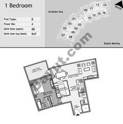 4th Floor 1 Bedroom Type B13