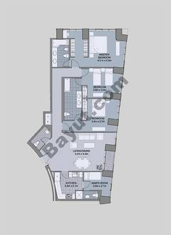Floors (43-48) Type 2 Unit-1 3 Bedroom