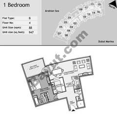 4th Floor 1 Bedroom Type B5