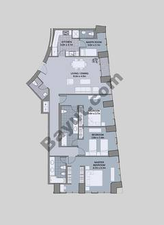 Floors (43-48) Type 2 Unit-2 3 Bedroom