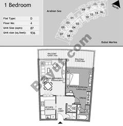 4th Floor 1 Bedroom Type D1