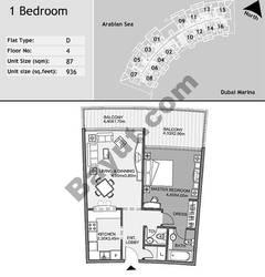 4th Floor 1 Bedroom Type D9