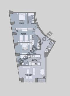 Floors (43-48) Type 2 Unit-4 3 Bedroom