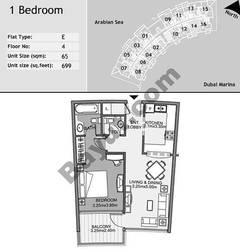 4th Floor 1 Bedroom Type E14