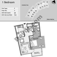 4th Floor 1 Bedroom Type F16